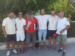 El equipo B de España formado por componentes del Club Ubriqueño de Pesca Deportiva, con David González (segundo por la izquierda)