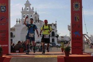 Juan Carlos y Francisco Javier Bautista entrando en la meta de El Rocío